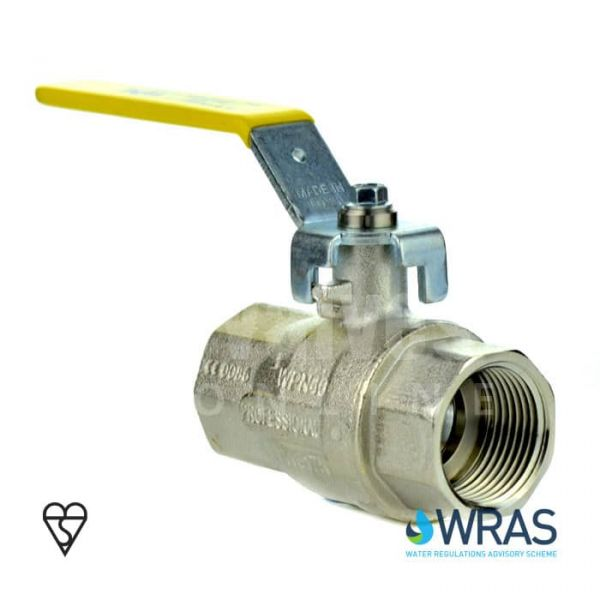 Economy Brass Ball Valve BSI Gas & WRAS Approved - Yellow Handle