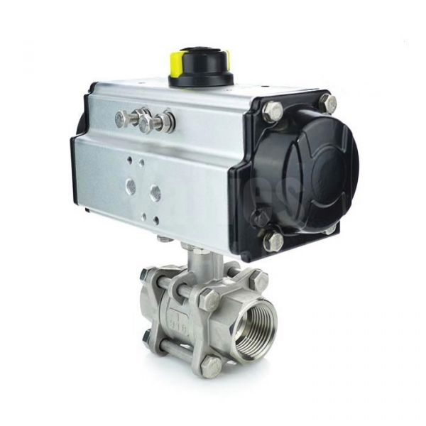 Economy Pneumatic Actuated 3 Piece Stainless Steel Ball Valve