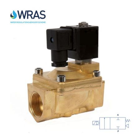 """Brass Solenoid Valve 0.5-16 Bar Rated WRAS Servo Assisted 3/8"""" - 2"""""""