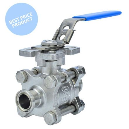 Economy 3 Piece DM Sanitary Ball Valve Clamp End