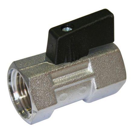 "1/4"" Economy Brass Mini Ball Valve Nickel Plated Black Short Butterfly handle"