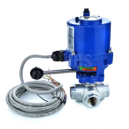 Economy Compact Electric Actuated 3 Way Brass Ball Valve
