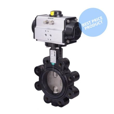 Economy Pneumatic Actuated Butterfly Valve Lugged PN16