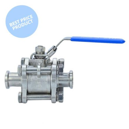 Economy Sanitary 3 Piece Manual Ball Valve - Clamp End