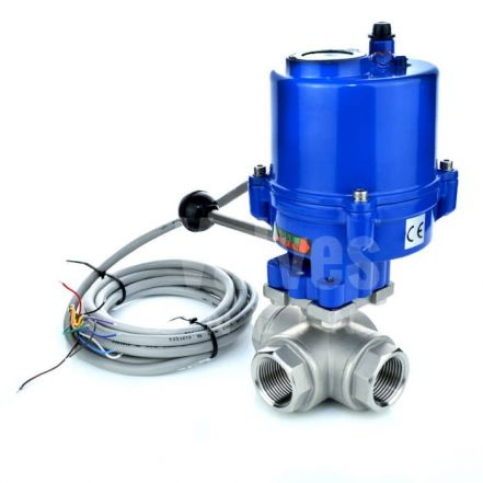 Compact Electric Actuated 3 Way Stainless steel Ball Valve