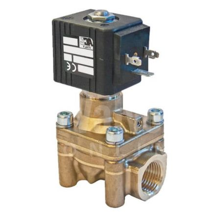 """Brass High Pressure Servo Assisted Solenoid Valve Normally Open 1/2"""""""