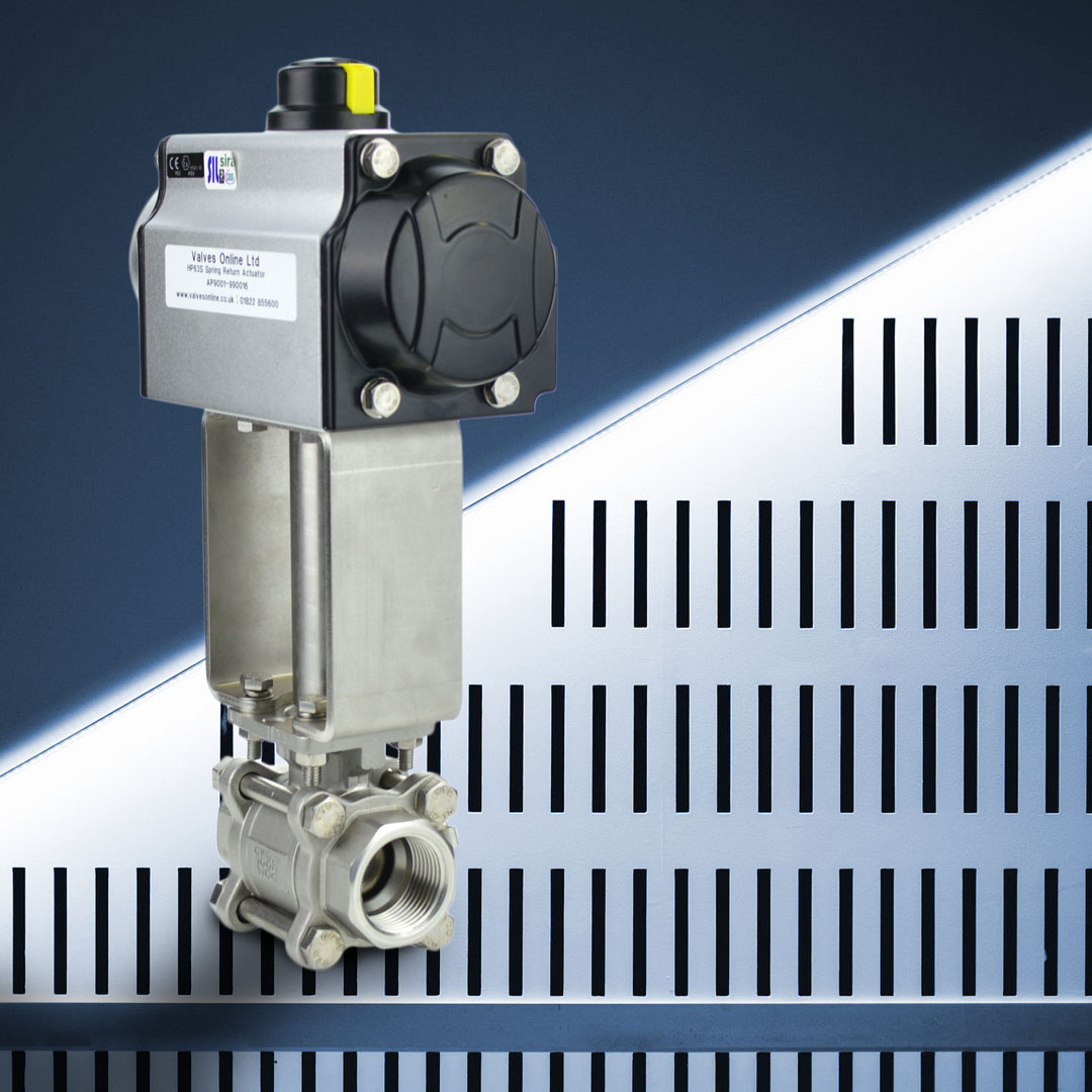 Stainless steel actuated steam ball valve